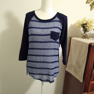 Size M Papermoon (Stitch Fix) blue striped top